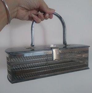NEW 40s 50s lucite marble plastic purse box basket